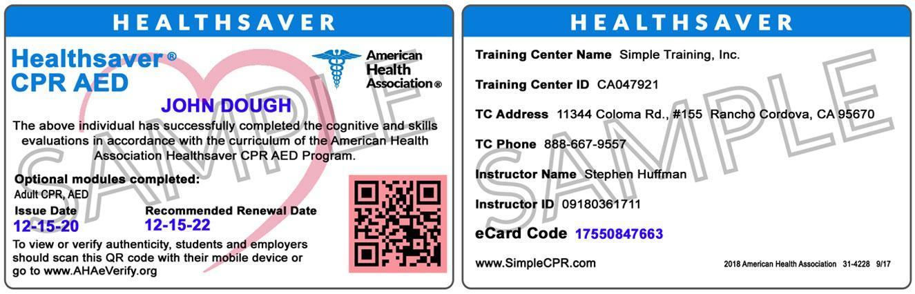 CPR & BLS training courses and certification
