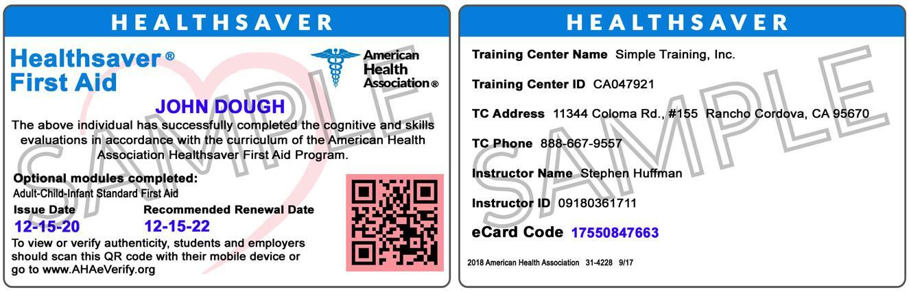 CPR Training Card Online